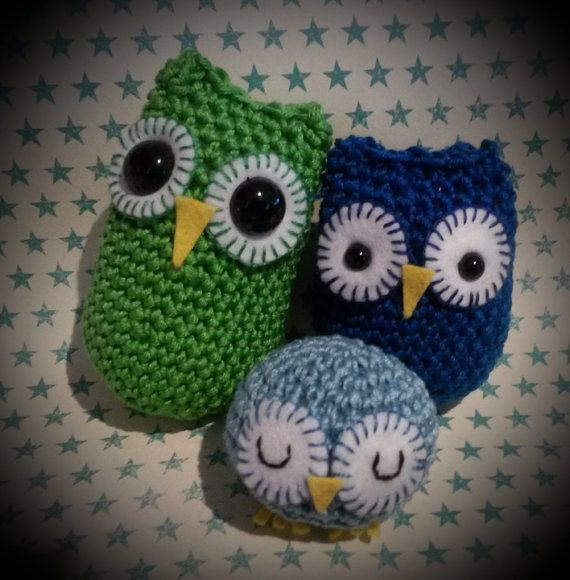 Set of 3 amigurumi owls. From exclusive craftseller cover  pattern. Hand crochet and embroidery