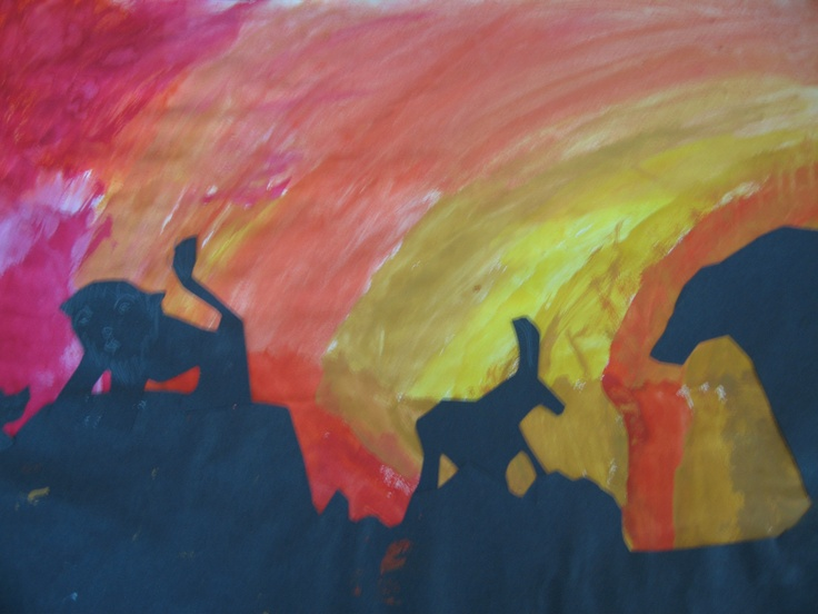 Watercolour wash African sunsets by Year 4 | Middle ...