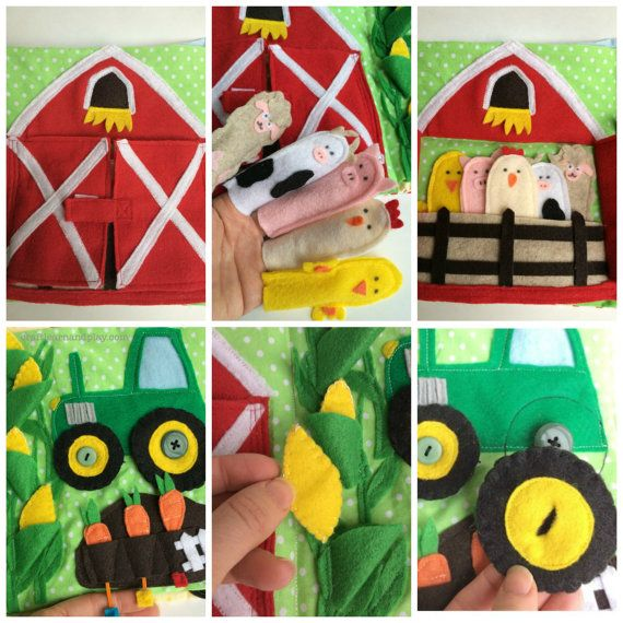 This lovely Farm Quiet Book is full of details. It will keep little fingers busy for hours while exploring and playing with each page. Farm themed