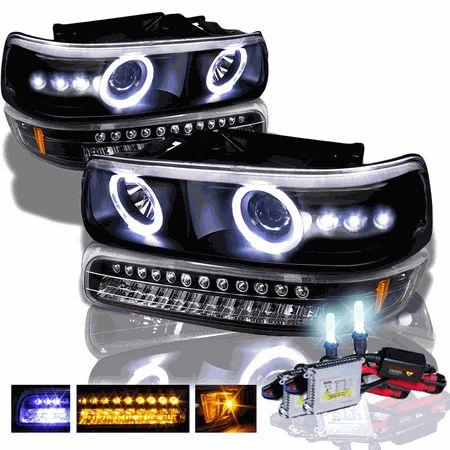 HID Xenon + 99-02 Chevy Silverado / Suburban Tahoe LED Projector Headlights + LED Bumper Lights - Black