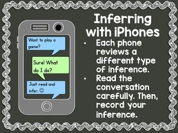 This FREEBIE includes 10 iPhone conversations that students will read and infer the answer to the question on the recording sheet. An answer key is included.This free product is a part of my new inferring unit. Use the link below to view it.Inferring I hope your students enjoy this freebie!Thanks,Jenn @ 2nd Grade Snickerdoodles