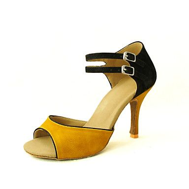 Customizable Women's Dance Shoes Latin/Salsa Flocking Customized Heel Yellow/Red – GBP £ 21.89