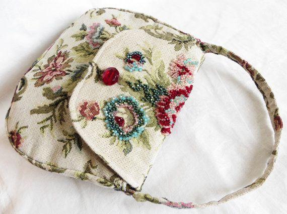 Wedding beaded purse in flowered brocade Ooak by LoveThirties