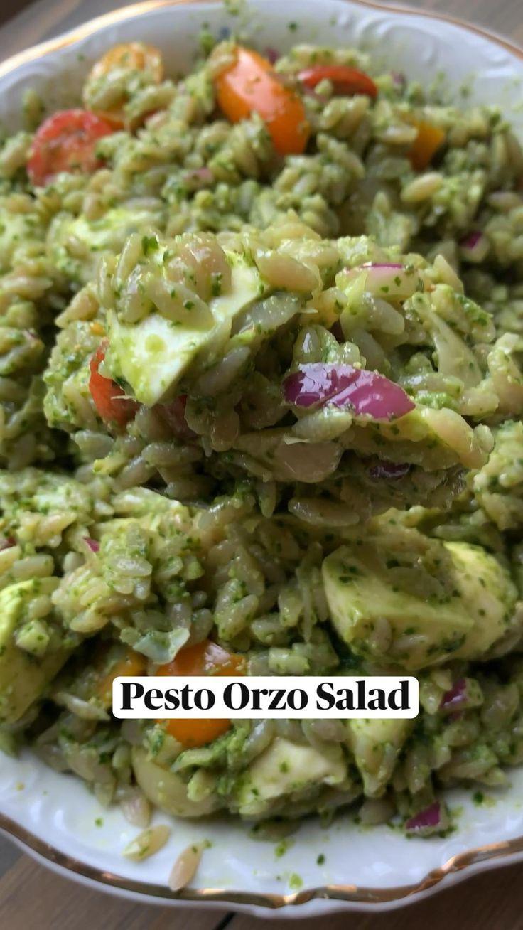 Orzo Salad, Healthy Salad Recipes, Vegetarian Recipes, Cooking Recipes, Healthy Foods, Vegetarian Barbecue, Barbecue Recipes, Summer Salads