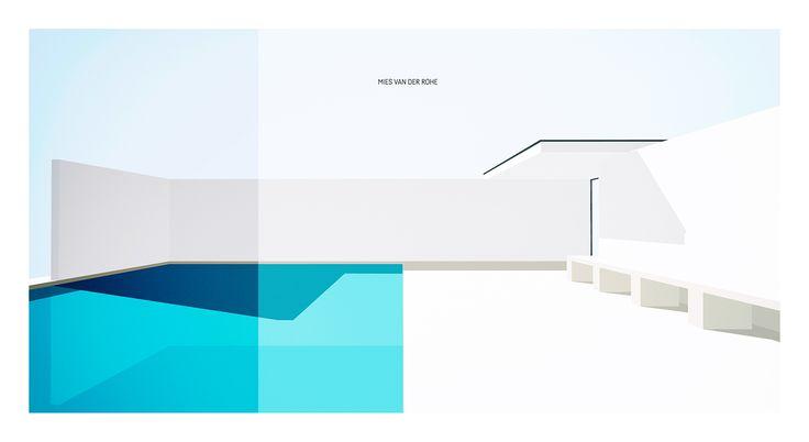 Vector Poster #9 Mies van der Rohe Pavilion Barcelona on Behance