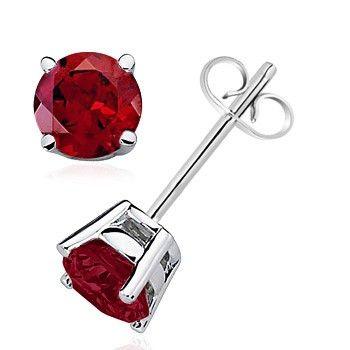 Angara Garnet and Diamond Shell Stud Earrings in Platinum q76Kr9