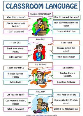 SKPanji: Classroom Language For Students Poster Worksheet