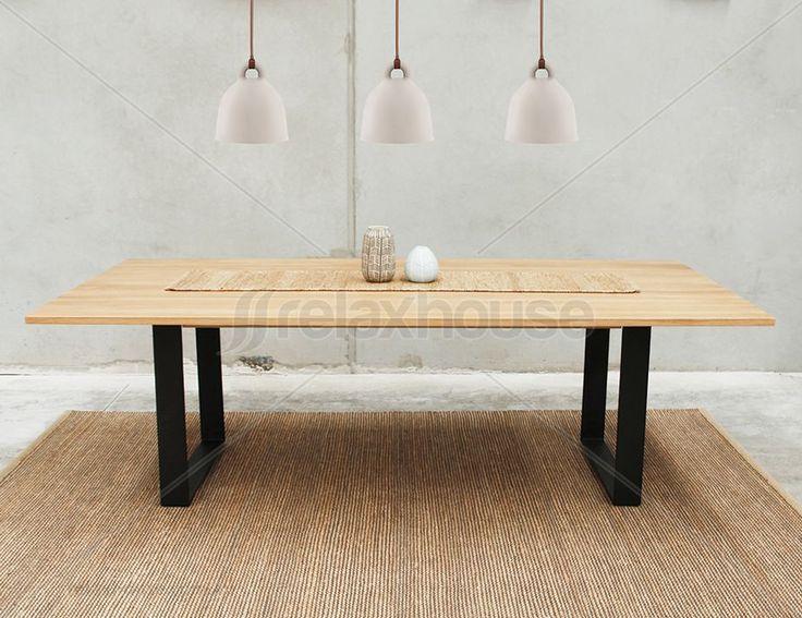 Odense Black Steel Leg Solid Oak Rectangle Dining Table by Bent Design Studio