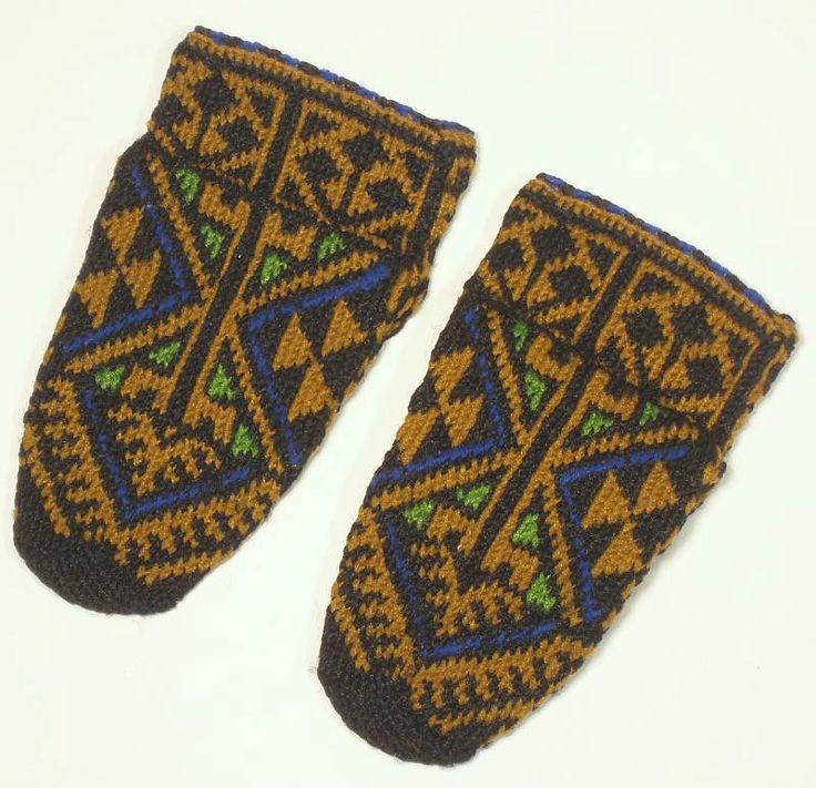 VINTAGE Sarakatsani Hand-Knit Folk Costume Socks Bulgarian/Greek ethnic slippers