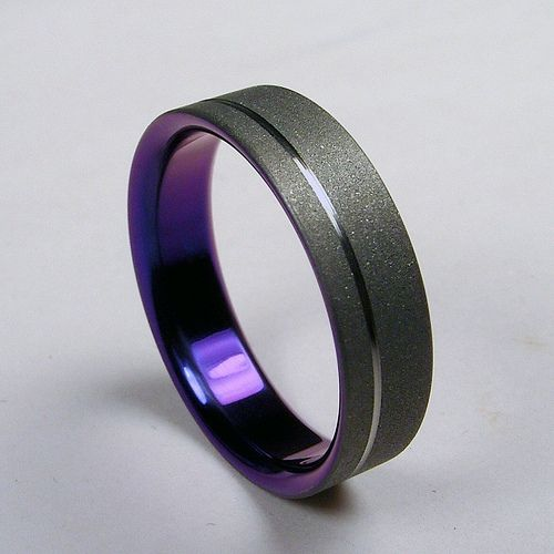 Superior The Original Pinstripe Titanium Wedding Band In Purple