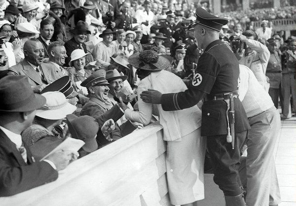 Hitler Reacts to Kiss from Excited American Woman at the Berlin Olympics, August 15, 1936.