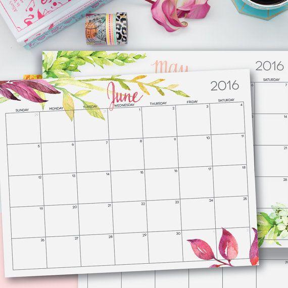 2016 Printable Calendar Editable Digital by PerennialPlanner