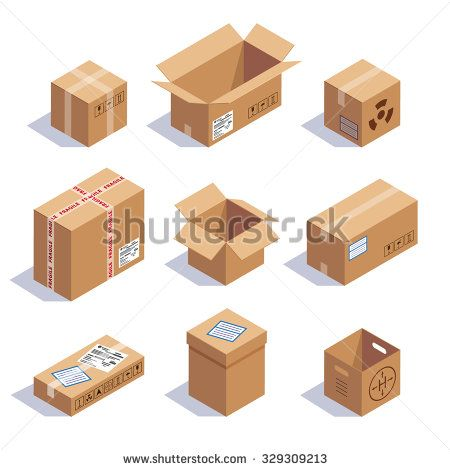 Collection of cardboard boxes. Opened, closed, sealed, cubic, big and small. Red striped and bow tied confetti explosion. Flat style vector illustration isolated on white background.