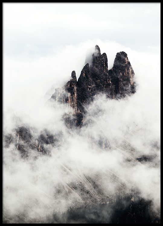 Poster with photo of mountain tops