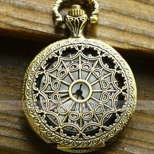Chinabuye.com---Antique Hollow Pattern Brass Quartz Pocket Watch With Chain Belt