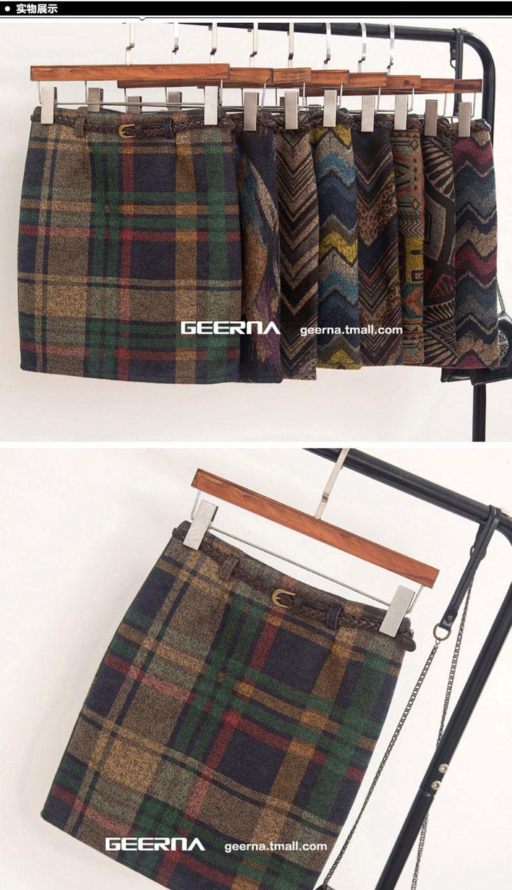 Siegel, что печать новой зимней зимы 2016 юбка шерстяная женская юбка ретро юбки пакет бедра юбка шерстяные юбки -tmall.com Lynx