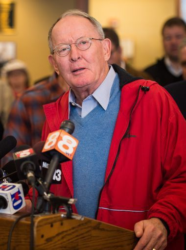 Sen. Lamar Alexander speaks during a press conference,