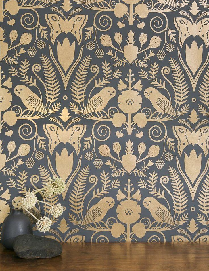 Barn Owls and Hollyhocks by Carson Ellis - Gold on Charcoal - Rolls