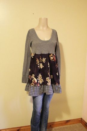 Image result for how to upcycle a sweatshirt into a romantic tunic