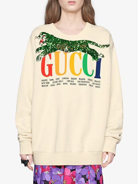 1faf5f96401 Gucci Gucci Cities Sweatshirt With Sequin Panther - Farfetch