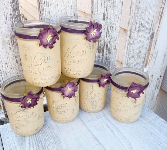 Rustic Wedding Jars - Shabby Chic Country Upcycled Mason Jar Candle Holders, Vases, Centerpieces, Decor SET OF 12 on Etsy, #home decorating before and after #modern home design| http://modern-house-design.lemoncoin.org