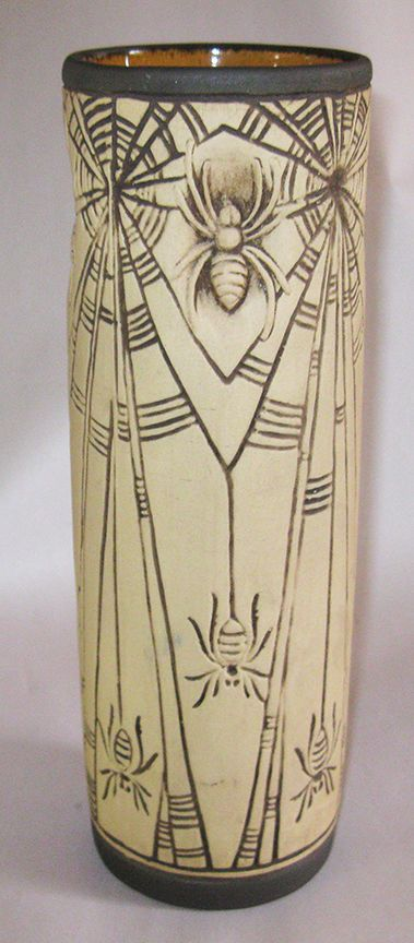 "Weller Pottery Burntwood Spider Vase 10"" Cylinder Web Spiderweb 1910"