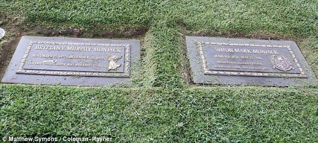 Together: Brittany Murphy and husband Simon Monjack are buried next to each other at Forest Lawn Memorial Park in Los Angeles, California