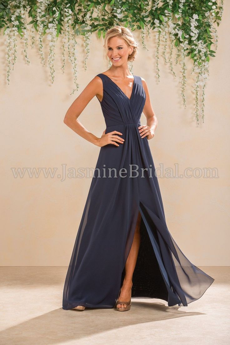 Jasmine Bridal Bridesmaid Dress B2 Style B183012 in Cayman Blue, Navy //