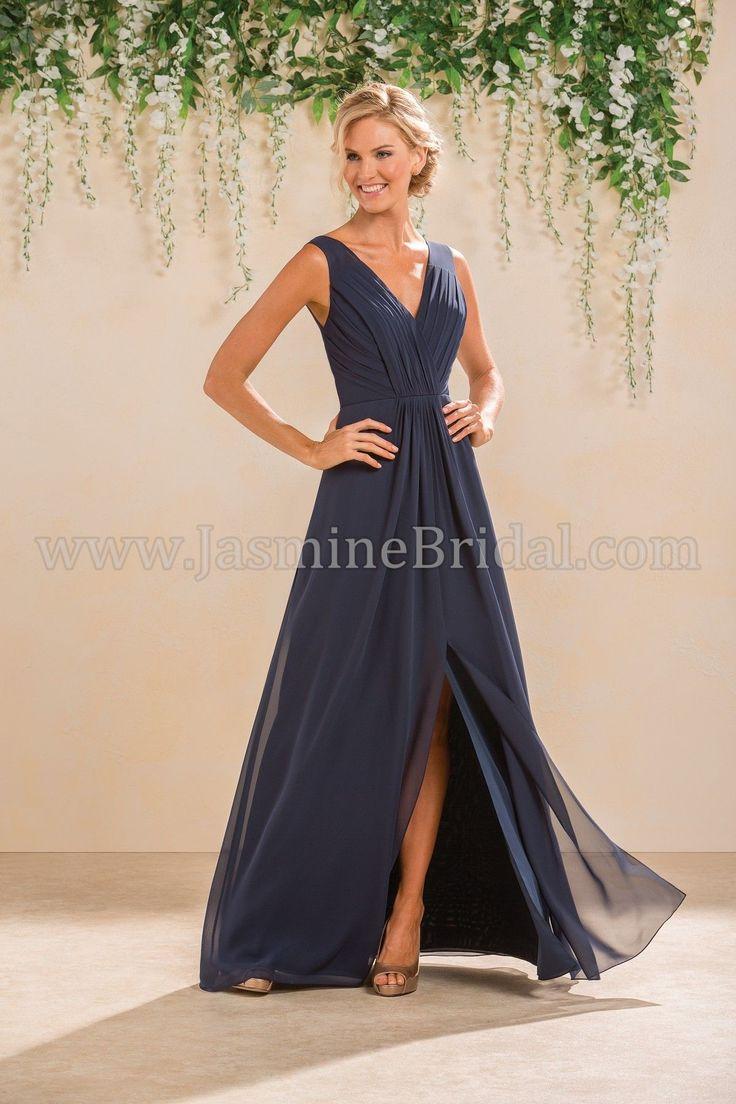 Jasmine Bridal Bridesmaid Dress B2 Style B183012 in Cayman Blue, Navy //