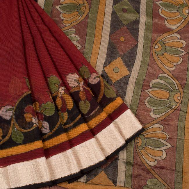 Hand Painted Pen Kalamkari Maheshwari silk Cotton Saree With Zari Border 10019447 - AVISHYA.COM