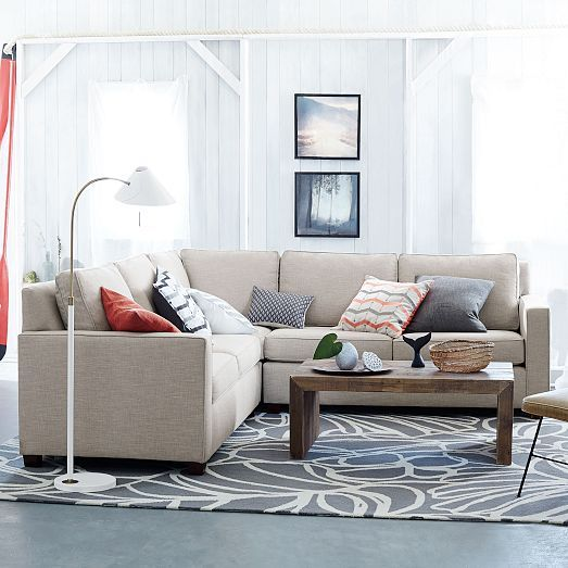 Henry 3 piece l shaped sectional west elm perfect size for Henry sofa sectional west elm