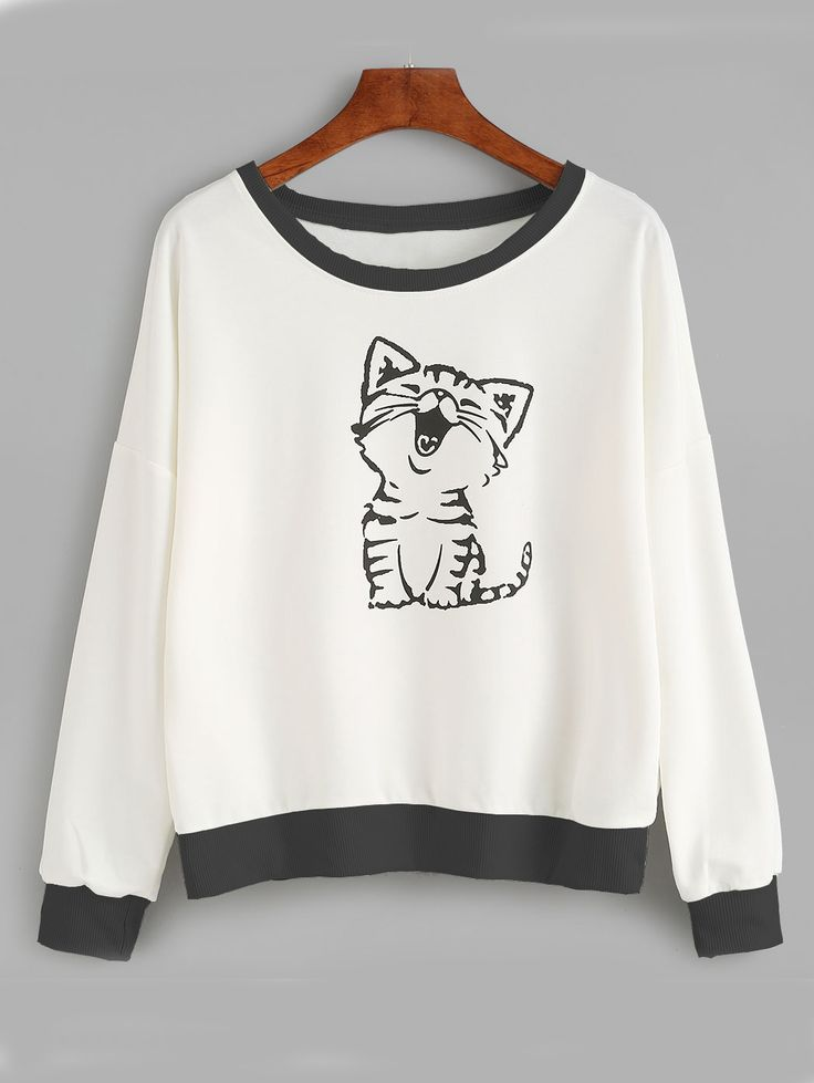 Shop Cat Print Drop Shoulder Sweatshirt online. SheIn offers Cat Print Drop…