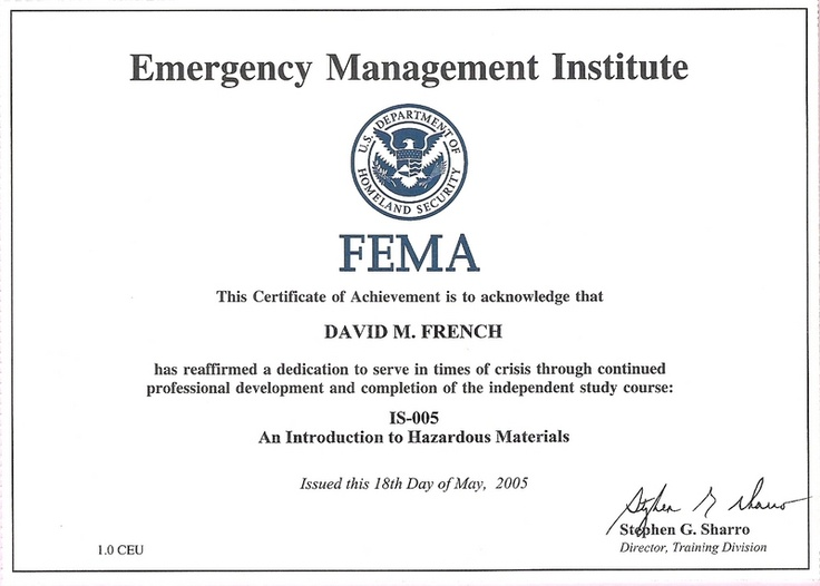 11 best FEMA Certificates images on Pinterest Certificate - building completion certificate sample