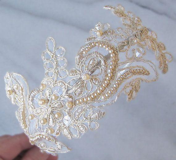 Diadema de encaje champán diadema de novia perla por TheRedMagnolia