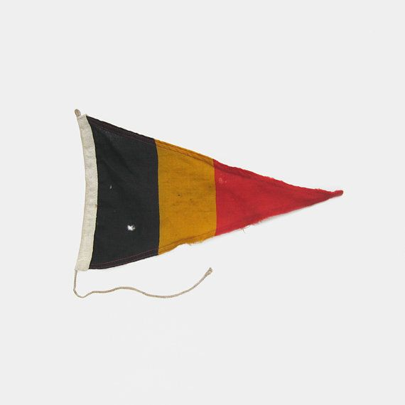 Vintage Belgium Boat Flag  linen ship's by EnglishCountryHome