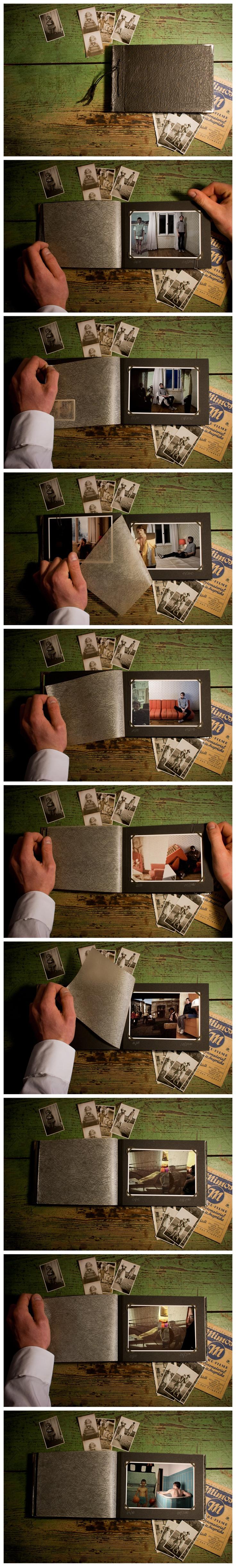 Die Fotoserie zeigt die Auseinandersetzung mit der eigenen Familie, der Zeit und dem Raum. Die Bilder sind keine Fotomontage, der Bild im Bild Effekt wurde mit einer speziellen Technik realisiert. Es lassen sich Synergien zwischen Dia, Raum und Person im Raum erkennen.