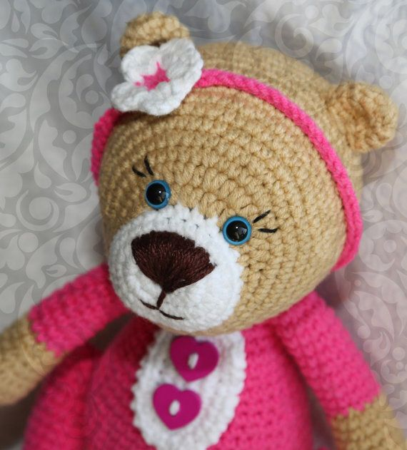 Cute Crochet  Teddy Bear  Valentines gift  от SlingNecklaceAndToys
