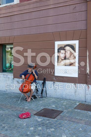 Contrabass Performer In Ljubljana royalty-free stock photo