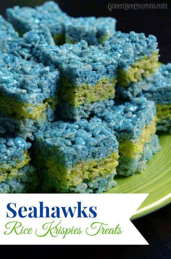 Seahawks Party Food - Seahawks Rice Krispies Treats - Queen Bee Coupons & Savings #Seahawks #Superbowl