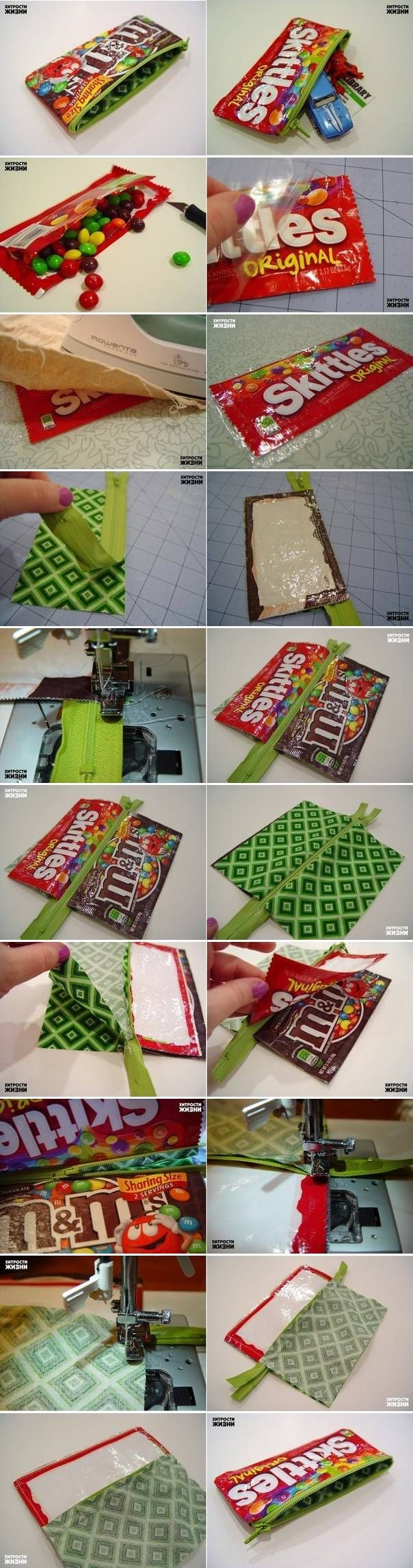 DIY Candy Wrap Pencil Case I seriously need these for my boys! I really need to learn to sew! LOL