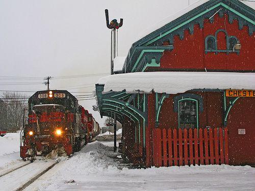 train station in snowy Vermont