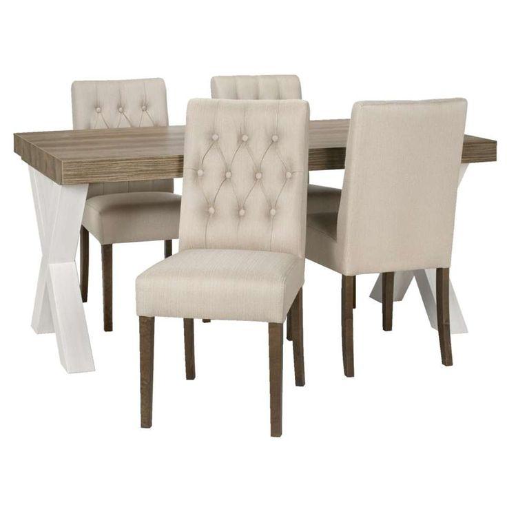 Eetkamertafel Lynn met 4 stoelen Sinatra - beige | Leen Bakker