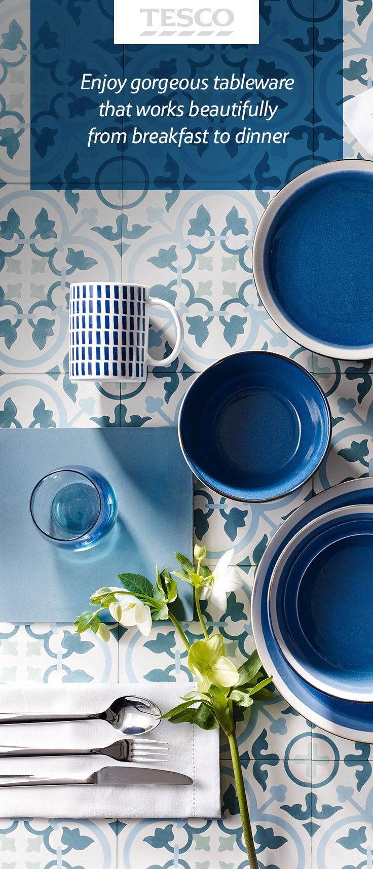 From Santorini mugs to a Blue Sahara dinner set, our latest spring/summer home range will give your dining table an instantly modern feel.