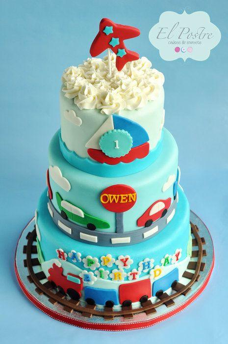 Transportation theme 1st birthday cake - by elpostrecakes @ CakesDecor.com - cake decorating website