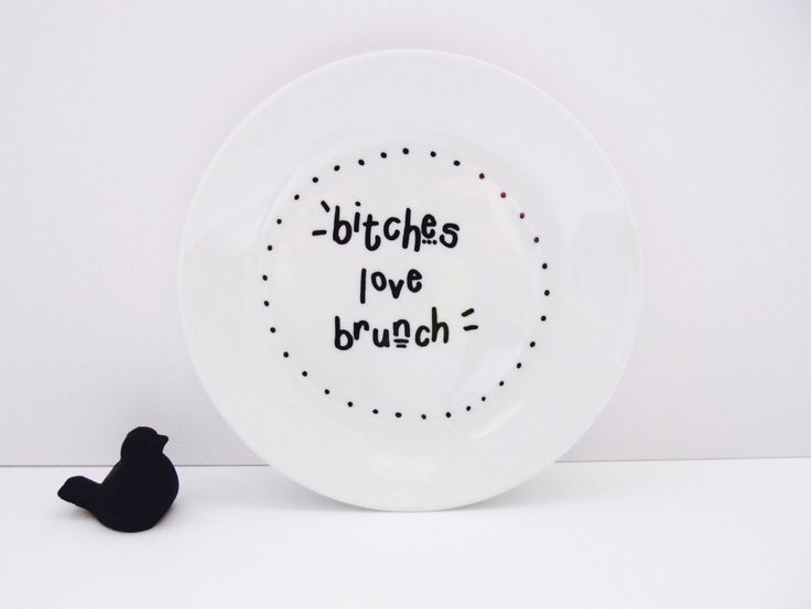 Bitches Love Brunch Funny Hand-Decorated by LilyLovesShopping