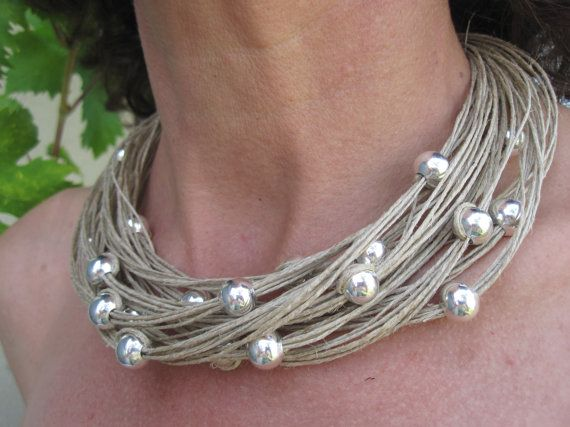 Necklace natural linen knots silver colour metal by espurna88