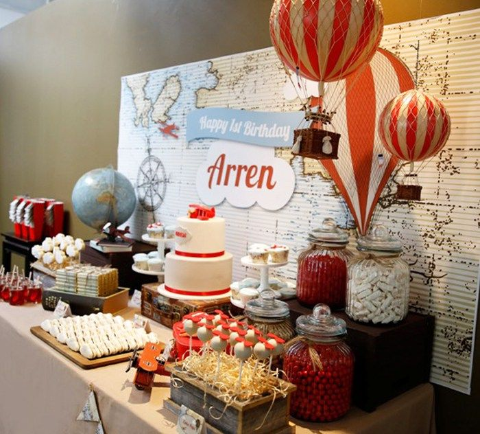 We're loving this travel themed party created by Styled By Belle for a first birthday party. The invitees were excited for an adventure after they received a canvas map rolled up in a scroll for the invitation. Upon arrival, guests were greeted with a fun hot air balloon photo booth, where 'lil travelers could sit …