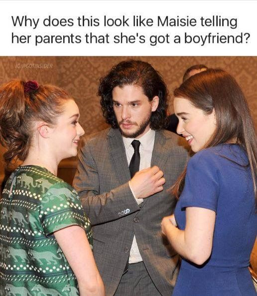 Why does this look like Maisie telling her parents that she's got a boyfriend? Game of Thrones.