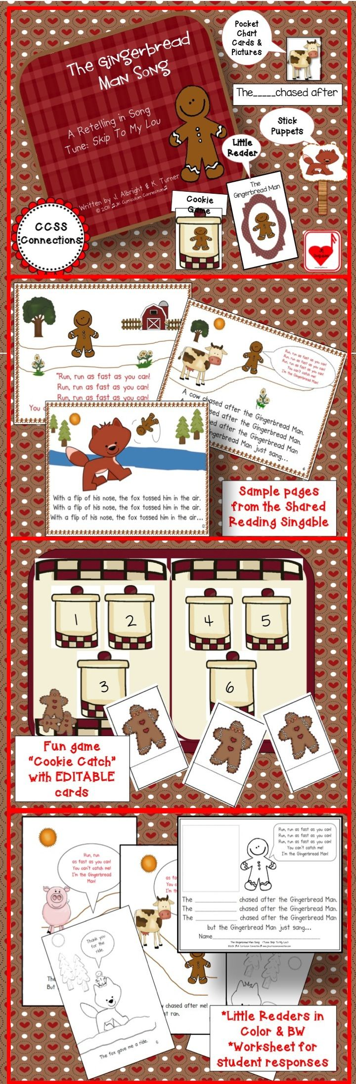 """This SONG is a complete retelling of the Gingerbread Man story. Children LOVE singing this, especially the chorus """"Run, run as fast as you can! You can't catch me! I'm the Gingerbread Man!"""" (Tune """"Skip to My Lou"""") Includes mini-movie, Little Readers, Pocket chart words, pictures, puppets, path game with EDITABLE cards & a student writing activity!"""