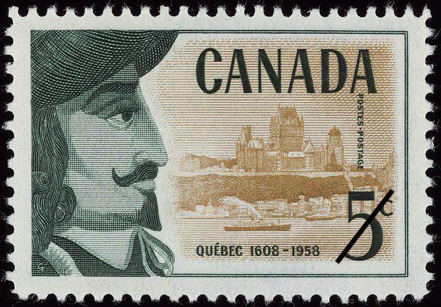 Stamp: Samuel de Champlain & the Heights of Quebec (Canada) (350th Anniv. of Founding of Quebec) Mi:CA 326,Sn:CA 379,Yt:CA 306,Sg:CA 505
